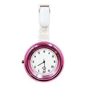 Ellemka – Krankenschwestern Pfleger   Ansteckuhr Taschenuhr   Analoge Anzeige mit Pulsskala   Quarz Digital   NS-2103 Pro – Rosa Pink