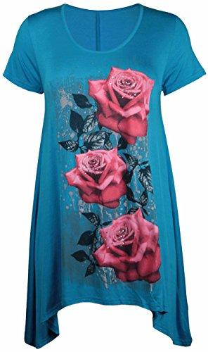 Purple Hanger - Tunique Femme Ourlet Inégal Manche Courte Imprimé Floral Rose Jersey Grande Taille Neuf Turquoise