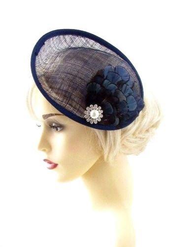 Grande Bleu marine plumes Soucoupe Disc Bibi Chapeau courses en sinamay Pince à cheveux 668 * exclusivement Vendu par Starcrossed Beauty *