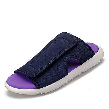 Slippers & amp da uomo;Luce Estate Soles denim casual unito spaccato reale Blu Nero / Bianco Rosso B sandali US9.5 / EU42 / UK8.5 / CN43
