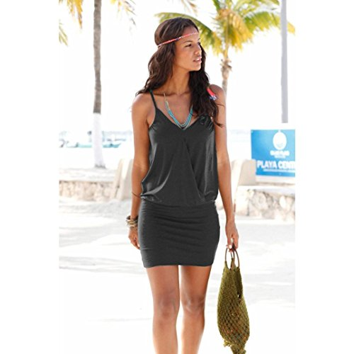 Fortan Femmes Sexy Plage Mini-robe courte Casual Strap Party Noir