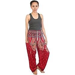 Lofbaz Mujeres Harén Pantalones de cintura de cordón Floral 2 Borgoña talla única