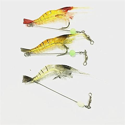 Bestok Fishing Lures Soft Shrimp Bait Bass Lures Spinner Fishing Tackle Sharp Treble Hook Hard Bait 3Pcs Mixed Color