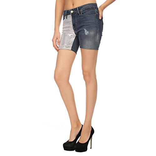 Estrolo One Side Sequined Blue Women's Shorts