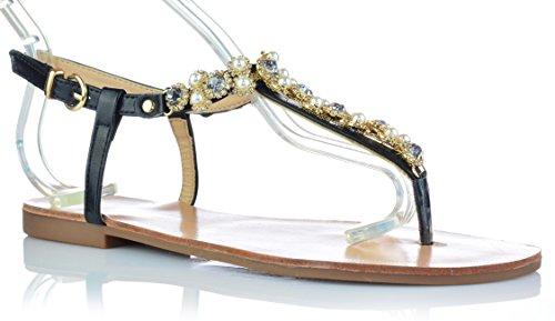 Damen Sandalen Sandaletten mit Strasssteine Zehentrenner Gr. 36-41 Schwarz