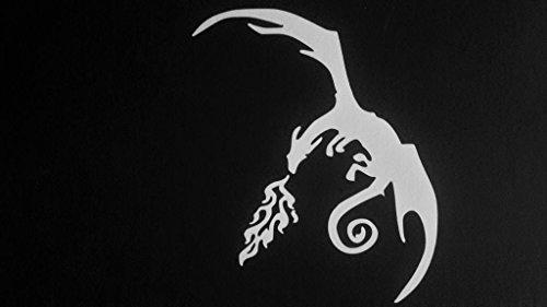 Dragon Drachen Herr der Ringe Inspiriert Vinyl Aufkleber Sticker|White|Cars Trucks Vans SUV Laptops Wall Art|5.5