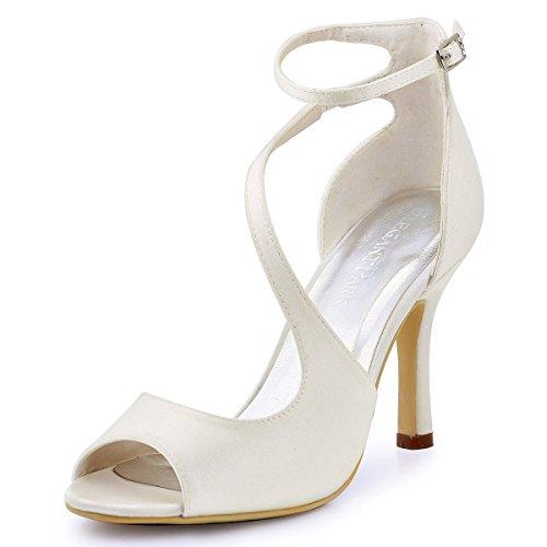 ElegantPark HP1505 Escarpins Femme Bout Ouvert Diamant Btide Cheville Boucle Sandales Chaussures de mariee Bal Satin Ivoire
