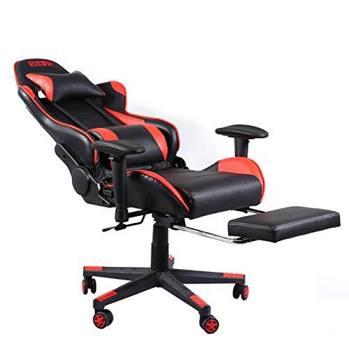 Nlne Gaming-Bürostuhl, Ergonomischer Dreh-Computer-Stuhl Mit Lordosenstütze Und Rocker-Kopflehne Und (Schwarz + Rot)