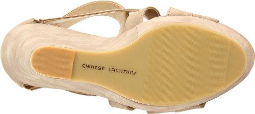Imitação De Paixão Grandes Chinese Saltos Couro Taupe Cunha Sandália Laundry De qZqFRSw
