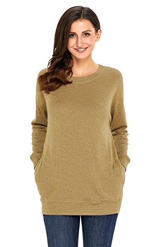 Dearlove, Damen-Sweatshirt, leger, langärmelig, für den Herbst, mit Tasche, weit geschnittenes Top, Größen: 34-50 Grün
