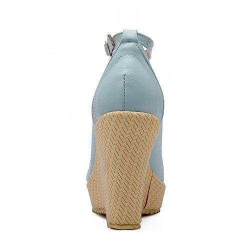 VogueZone009 Femme Pu Cuir Couleur Unie Boucle Fermeture D'Orteil Rond à Talon Haut Chaussures Légeres Bleu