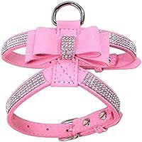 HAOKAN Collar De Mascota Rhinestone Pet Puppy Dog Harness Terciopelo Y Correa De Cuero para Perros
