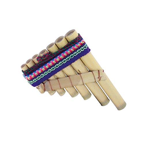 Koakid Kinder Mini Bambus Flöte klangvoll 7 Bambusröhren 10x7 cm