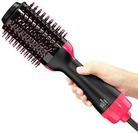 Peine de aire caliente,cepillo de alisado de iones negativos 3 en 1 y peine de cabello rizado,secador de cabello ovalado multifunción y peine de abundancia para reducir la sequedad y la estática