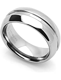 Little Treasures 8MM Comfort Fit Tungsten Carbide Wedding Band Grooved Center Domed Ring Cobalt Free