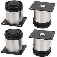 Lot de 4pieds de meubles de cuisine en acier inoxydable - Réglables - Ronds - 50x 50mm
