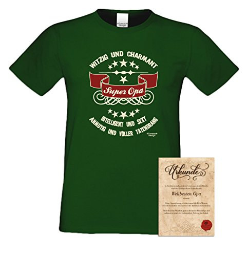 Geburtstagsgeschenk Opa Großvater :-: Herren T-Shirt als Geschenkidee :-: Super Opa :-: Übergrößen 3XL 4XL 5XL :-: Geschenk zum Geburtstag für Opa Farbe: dunkelgrün Dunkelgrün