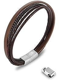 7061f09d0333 J Bracelet cuir homme en acier inoxydable bleu noir réglable 21-22.5cm