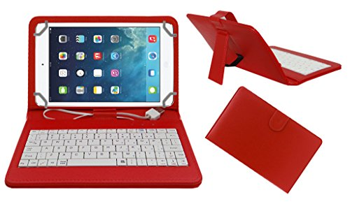 Acm Premium Usb Keyboard Tablet Case Holder Cover For Apple Ipad Mini 4 With Free Micro Usb Otg – Red