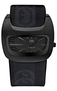 Marc Ecko Men's The Galactica Black Textured Dial Watch E16077G2 with a Black Leather Cuff Strap