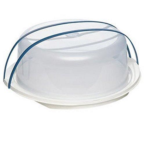 Emsa 2144301200 Tortenbutler mit Haube, Ø 30 cm, Höhe 11 cm, Weiß/Blau, Superline