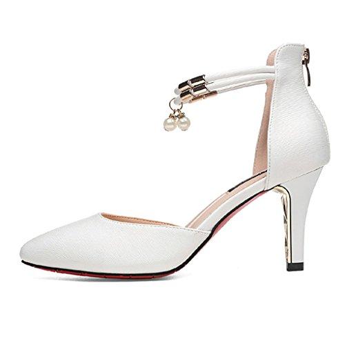 HWF Scarpe donna Fashion Mid Heel Pointed Sandals Donna Scarpe col tacco alto Scarpe da donna ( Colore : Bianca , dimensioni : 36 ) Bianca