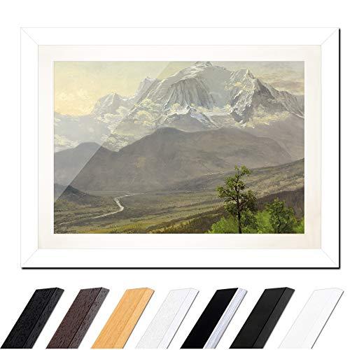 Bild mit Rahmen - Albert Bierstadt Mont Blanc 60x40cm ca. A2 - Gerahmter Kunstdruck inkl. Galerie Passepartout Alte Meister - Rahmen weiß glatt