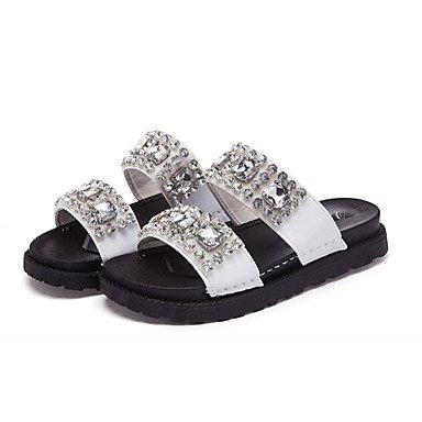 zhENfu Donna sandali di gomma Comfort estate passeggiate all'aperto Comfort Strass tacco piatto bianco nero sotto 1in White