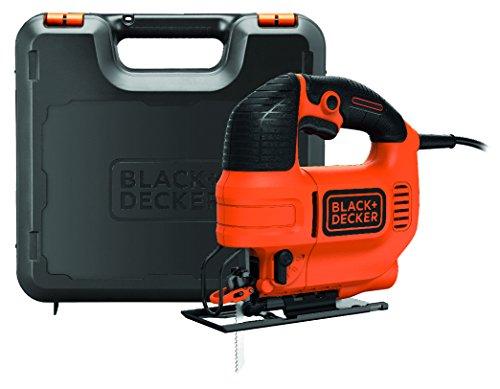 Black + Decker 520W Elektronik-Pendelhubstichsäge, 4-stufig, variable Drehzahl, Staubabsaugung, Koffer, KS701PEK