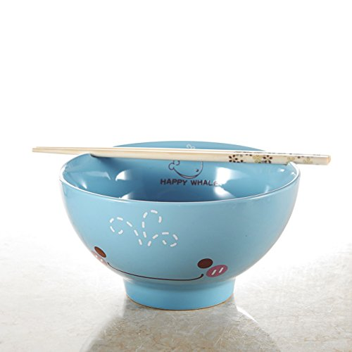 panbado 30.5Oz porcellana Cute Cartoon Animal Noodle Ciotola da portata Lovely Pasta Ceramica Ciotola con le bacchette Happy Balena, colore blu