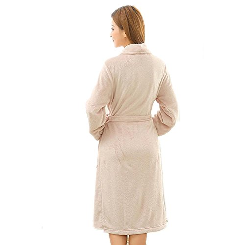 CHUNHUA Robe de flanelle peignoir confortable à manches longues en vêtements d'hiver , light green , l/xl light pink