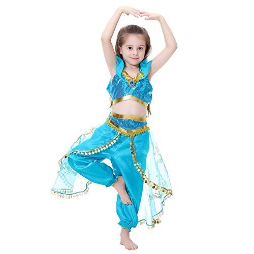 LOLANTA 2-teiliges Mädchen Princess Dress Up Pailletten Kostüm Bauchtanz Outfit