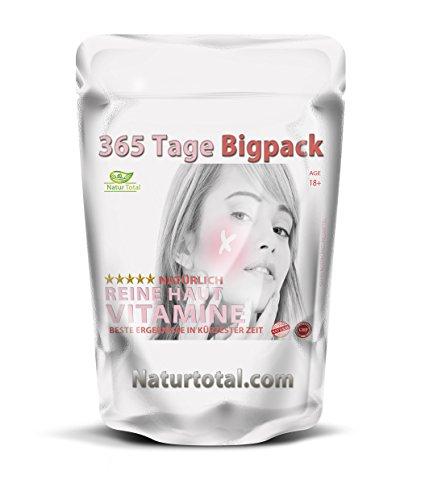 Natürlich reine Haut ohne Pickel für 365 Tage hochdosiert gegen Pickel, Akne, Mitesser und unreine...