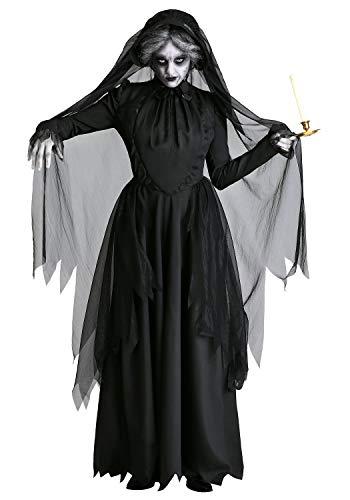 Halloween Kostüm Fantome - DOBESTES Halloween Costume D'Horreur FantôMe FéMinin Adulte Costume FantôMe MariéE Sombre Vampire SorcièRes Costume De ScèNe (L)