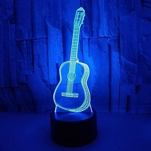 LMDH Guitarra 3D Led luz de la Noche Siete Colores Touch Light...