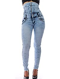FARINA®1610 Denim Pantalones, Vaqueros de mujer, Push up/Levanta cola, pantalones vaqueros elasticos colombian, Moda cintura alta,color azul ,talla 34-48/XS-3XL