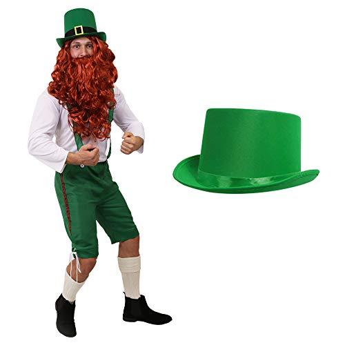 ILOVEFANCYDRESS ST Patricks Day Leprechaun Irland KOSTÜM VERKLEIDUNG=GRÜNE 3/4 Latzhose+WEISSES Oberteil+ROTE PERÜCKE+BART+GRÜNER SAMT Zylinder = Kobold ()