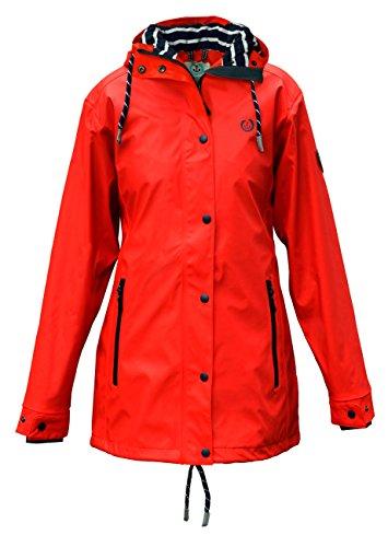 MADSea Damen Regenmantel Friesennerz rot wasserdicht, Farbe:rot, Größe:44