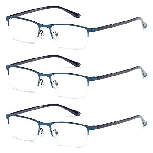 Huicai Unisex Mode Bequem Lesebrille 3 Packungen Metall Halber Rahmen Harz Objektiv Klassisch Lesen Gläser +1.0 bis +4.0