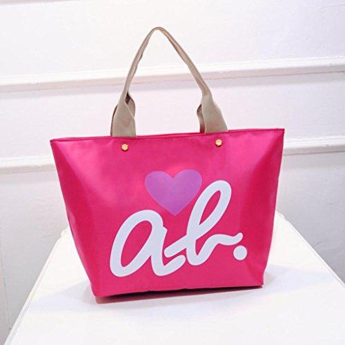 BZLine® Frauen Nylon einkaufen Schulter Handtasche Tote Shopper Tasche, 50cm *33cm *17cm Pink