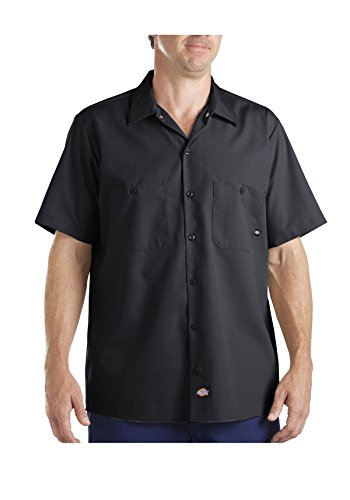 Industrielle Kurzarm Shirt Work, Small, Indigo Khaki Stripe ()