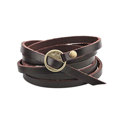 Shuxy Mehrschichtiges Wickelarmband aus Leder Multi Doppel Manschette Armband Unisex Gürtel Verstellbarer Armreif Männer Frauen - Dunkelbraun -