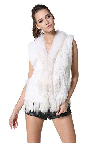 Kaninchen Fell Kragen Jacke (MEEFUR Kaninchen Pelz Westen mit Waschb?r Pelz Kragen Real Pelz gestrickte Frauen Weste White XXL)