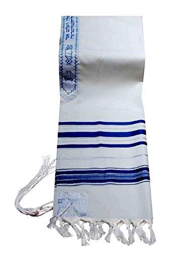 100% Wolle Tallit Gebet Schal in Blau und Silber Streifen Größe 119,4cm L x 172,7cm W (Für Schal Frauen Gebet Jüdischen)