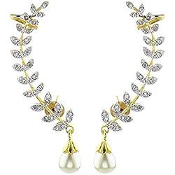 YouBella Jewellery Gold Plated American Diamond Leaf Shape Ear cuffs Earrings for Girls and Women