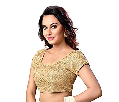 Studio Shringaar Latest Golden Fully Embroidered Readymade Stitched Cap Sleeve Saree Blouse For Women.