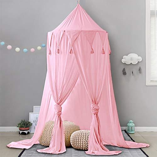 Minetom Betthimmel für Kinder Baby Baldachin Spielzimmer Fotografieren rund Höhe 240cm Prinzessin Chiffon hängende Moskitonnetz für Schlafzimmer Dekoration für Bett und Schlafzimmer (Rosa)