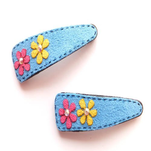 2 Blue Suede Daisy Hair Slides IN4189 by Hair Slides -