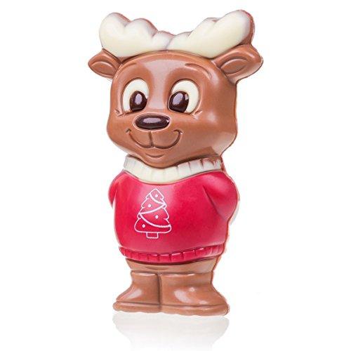 Rentier mit rotem Pullover - Schokoladenfigur aus Vollmilchschokolade