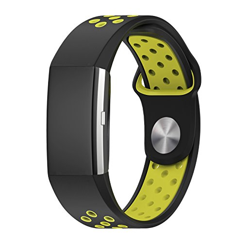 Fitbit Charge 2 Accessory Band, Soft Silicone Sport Replacement Strap Wristband with Quick Release for Sport Fitness Tracker Fitbit Charge 2 Heart Rate, Yellow+Black